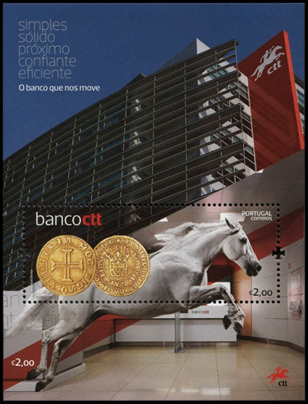 Launch of the Banco CTT. Postage stamps of Portugal.