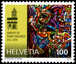 The 1500th Anniversary of the Abbey of St Maurice d'Agaune . Postage stamps of Switzerland.