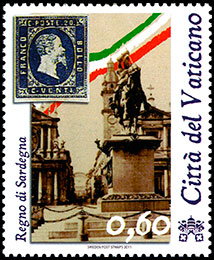 The 150th Anniversary of Unification of Italy . Postage stamps of Vatican City.