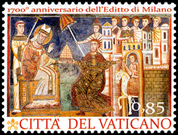 The 1700th Anniversary of the Edict of Milan. Joint Issue with Italy . Postage stamps of Vatican City.