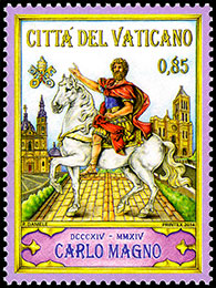 1200th Anniversary of the Death of Charlemagne. Postage stamps of Vatican City.