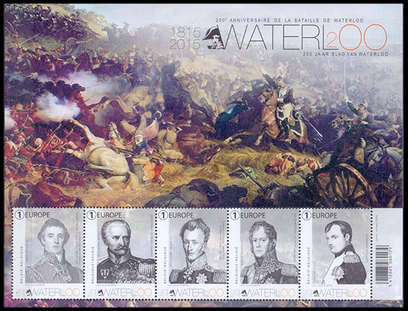 200th anniversary of the Battle of Waterloo. Postage stamps of Belgium.
