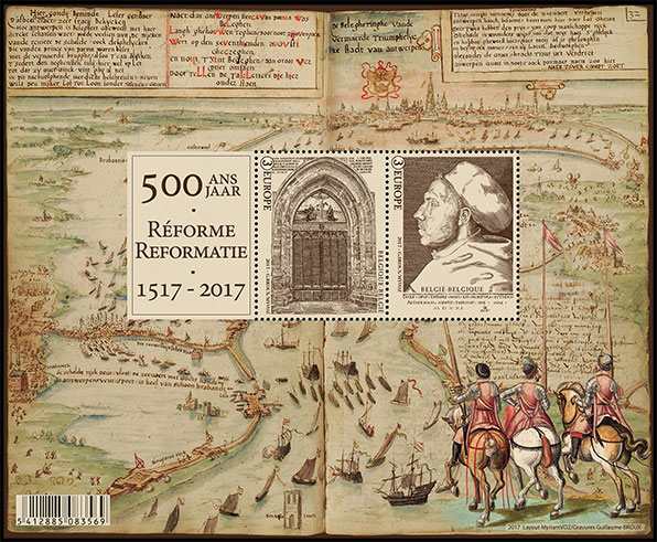 500 years Reformation. Postage stamps of Belgium.