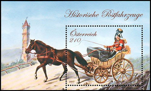 Historical Postal Vehicle. Postage stamps of Austria.