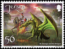 Dragons. Postage stamps of Great Britain. Jersey.