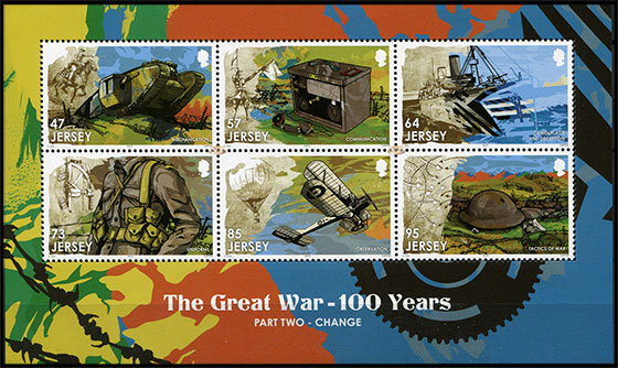 The 100th Anniversary of World War I. Change. Postage stamps of Great Britain. Jersey.