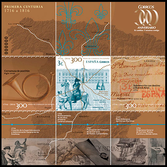 The 300th Anniversary of Post in Spain. Postage stamps of Spain.