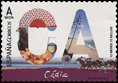 12 Month, 12 Stamps,  - Cádiz . Postage stamps of Spain.