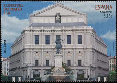 Reopening of the Royal Theater. Postage stamps of Spain.