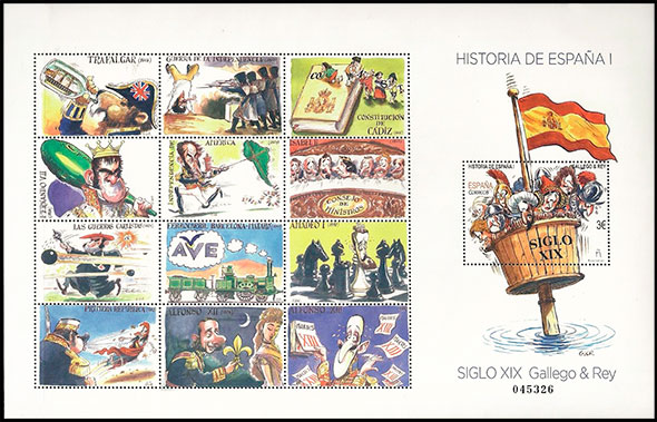 History of Spain. XIX - XX. Gallego & Rey. Postage stamps of Spain.