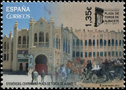 The 100th Anniversary of the Albacete Bullring . Postage stamps of Spain.