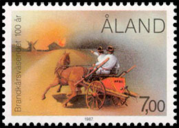The 100th Anniversary of the Fire Brigade . Postage stamps of Finland. Aland.