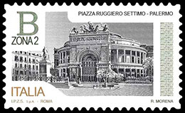Squares in Italy. Postage stamps of Italy.