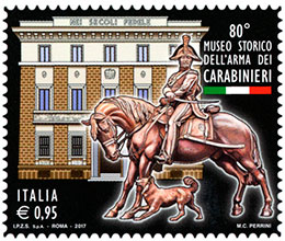 The 80th Anniversary of the Historical Museum of the Carabinieri Corps. Postage stamps of Italy.