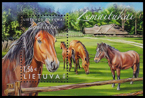 Horses of Lithuanian. Breed Zematiukai. Postage stamps of Lithuania.