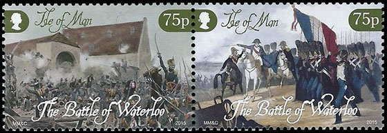 The 200th Anniversary of the Battle of Waterloo . Postage stamps of Great Britain. Isle of Man.