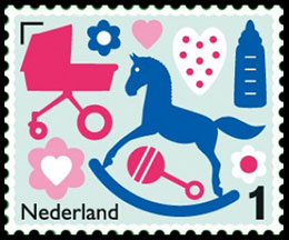 Greeting Stamp. Birth Stamps. Postage stamps of Netherland.