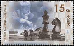 Norwegian Chess Federation Centenary. Postage stamps of Norway.